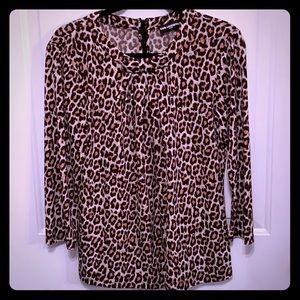 Leopard Pleated Bow Top- Karl Lagerfeld